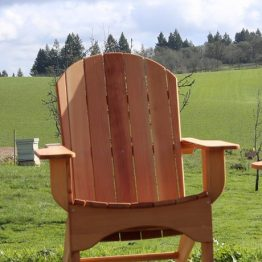 Blanchet House and Blanchet Farm Adirondack chair handmade my men in recovery at Blanchet Farm's woodshop