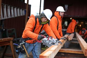 Men in recovery build tiny homes at Blanchet Farm in Carlton, Oregon. Photo by Julie Showers