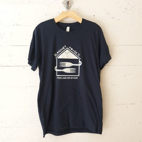 Blanchet House tshirt in navy blue color illustrated by Portland artist Ryan Bubnis