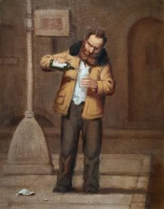 Artist Richard Lithgow's painting of a homeless alcoholic.