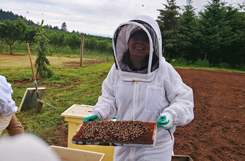 Katy Fackler holds bees at Blanchet Farm, May 2020.
