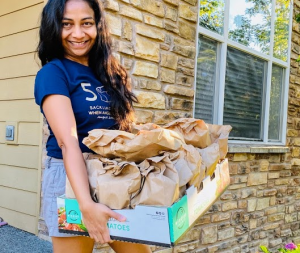 Bansi Haria and her family made sack lunches for Blanchet House.