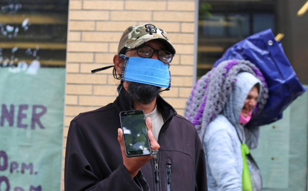 Chad homeless phone charging Portland Blanchet House Addiction Recovery