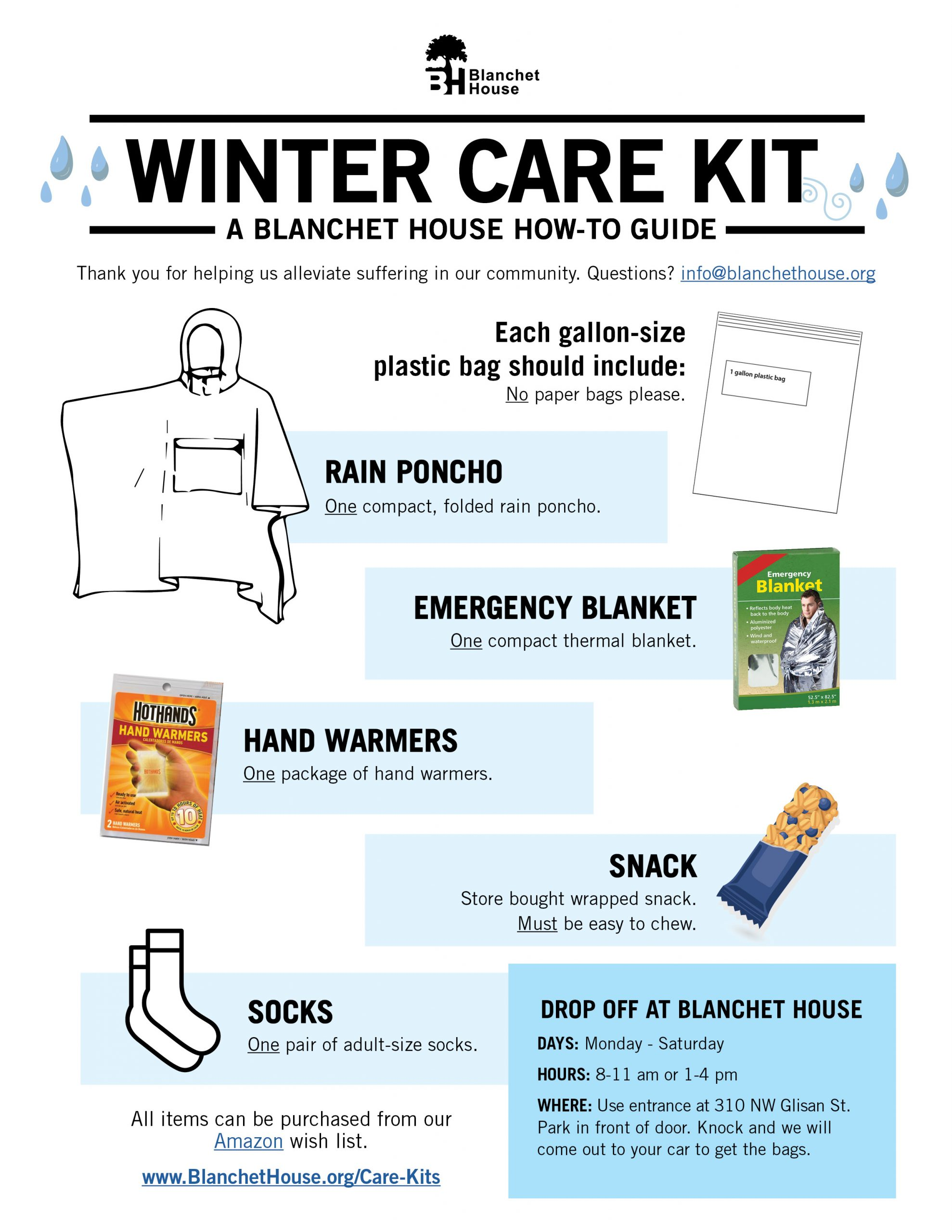 how to make a Winter care kit for homeless