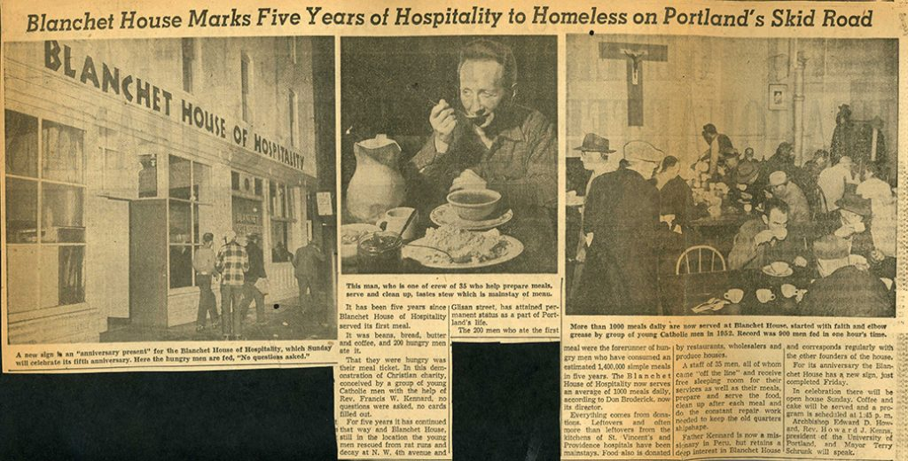 Article in Oregonian about Blanchet House's 5th Anniversary in 1957.