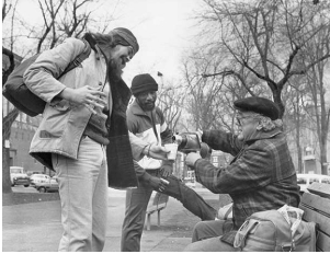 Father Francis Kennard Serves coffee to striking workers in Portland's park blocks. (Year unknown)