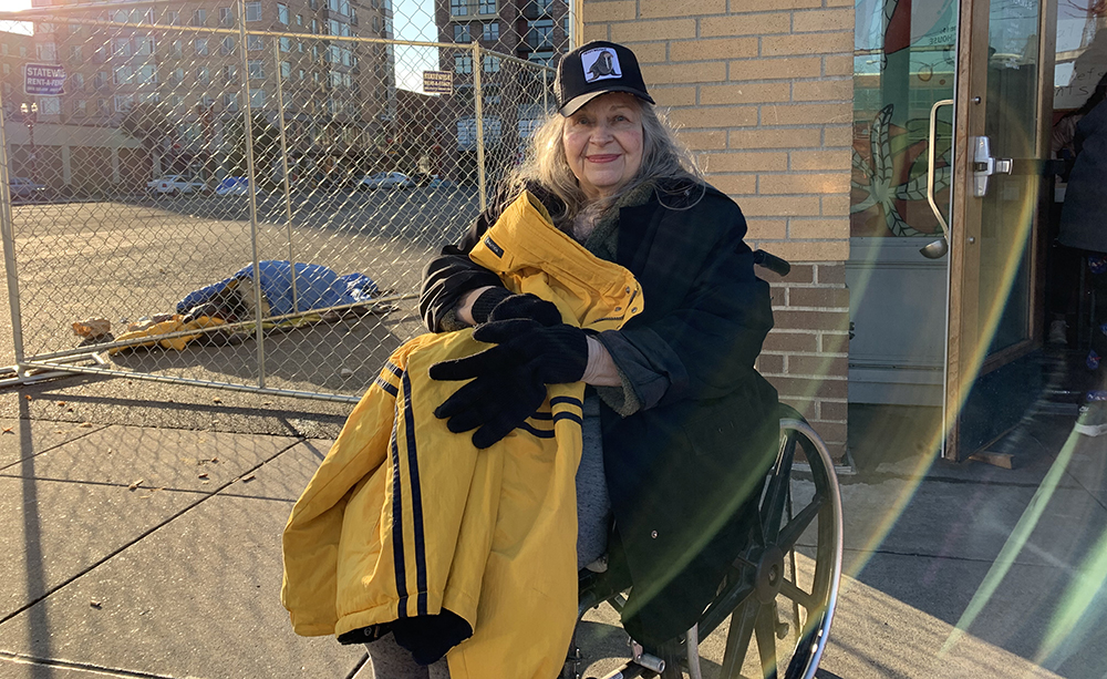 """""""Thank you. It's so nice."""" Sherri picked up a pretty yellow warm and waterproof coat ahead of the winter storm. We offer a wide assortment of clothing Saturdays and select items throughout the week."""