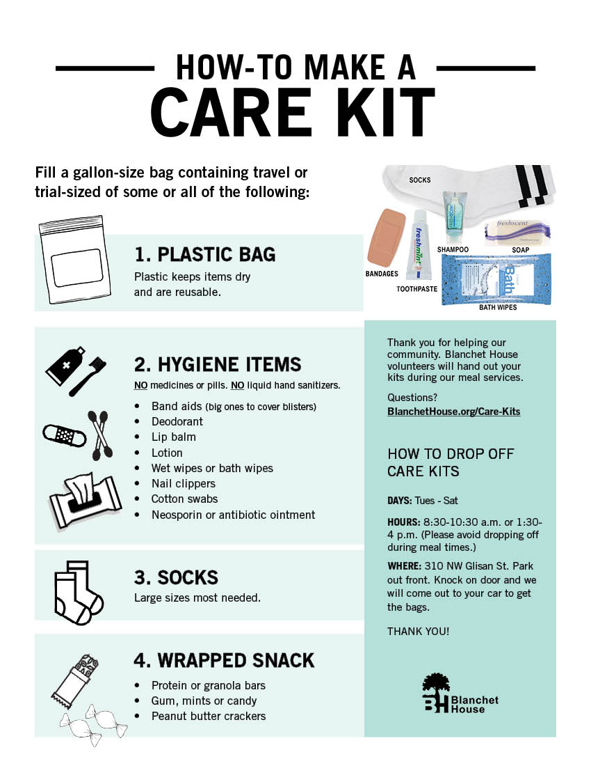 How to make a care kit for homeless instruction sheet