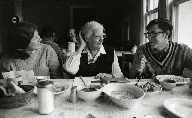 Dorothy Day sharing a meal with volunteers at the Catholic Worker Farm in Tivoli, New York 1968.