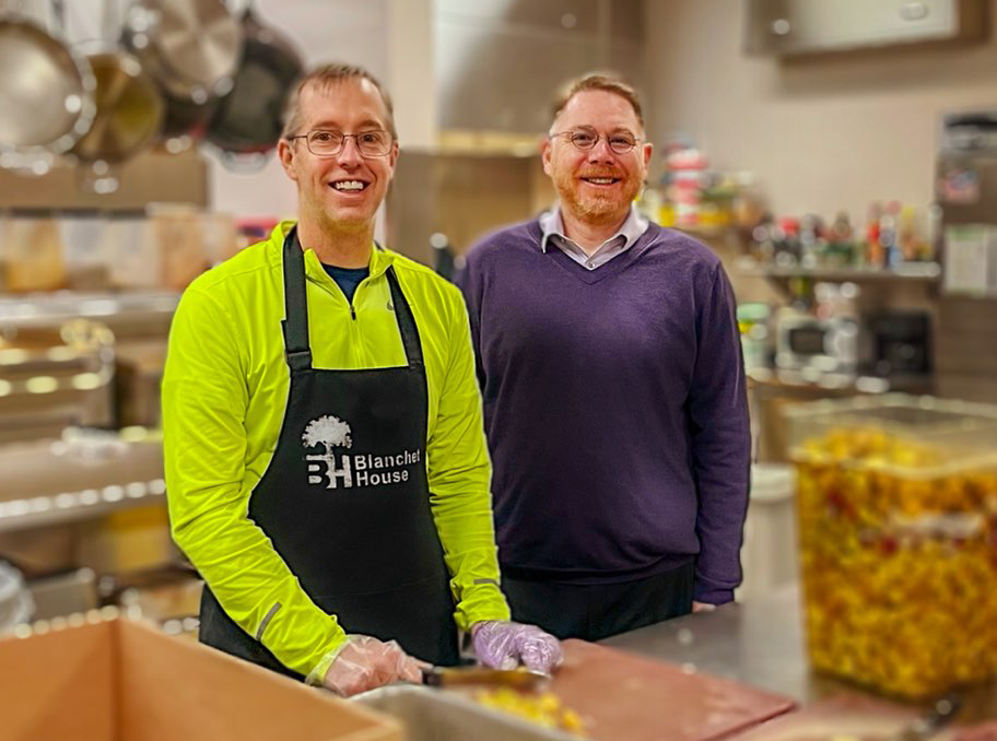 Jerry Quinn (left) and Scott Kerman (right) in the Blanchet House kitchen in 2020.